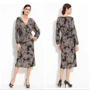 Butterfly Print Silk Crêpe de Chine Long Dress